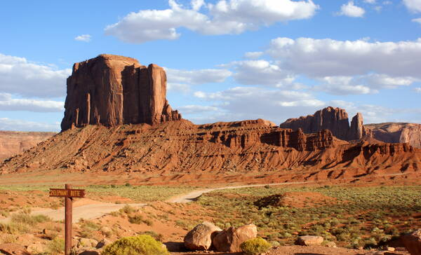 Elephant Butte, een olifantvormige rotspartij in Monument Valley