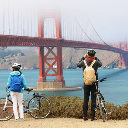 Fietstocht over de Golden Gate Bridge in San Francisco