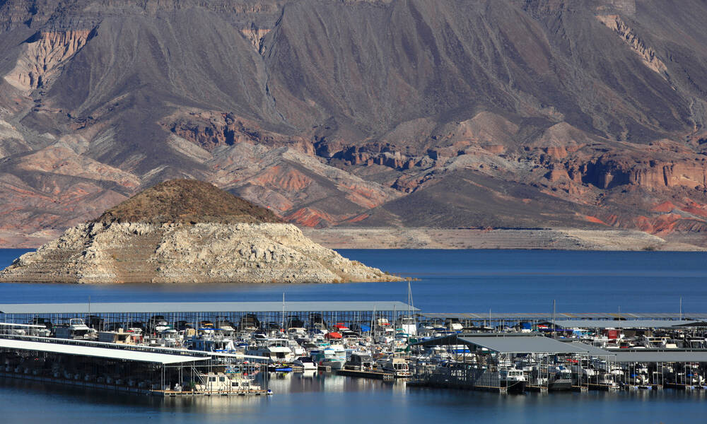 Boten in Lake Mead, nabij Las Veags Nevada