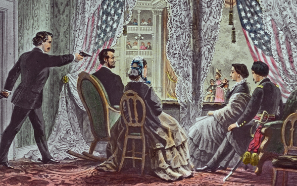 John Wilkes Booth schiet president Lincoln dood in Ford's Theatre