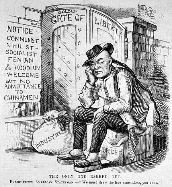 Cartoon over de Chinese Exclusion Act, een wet aangenomen door Chester Arthur, die het Chinezen verbood naar Amerika te emigreren