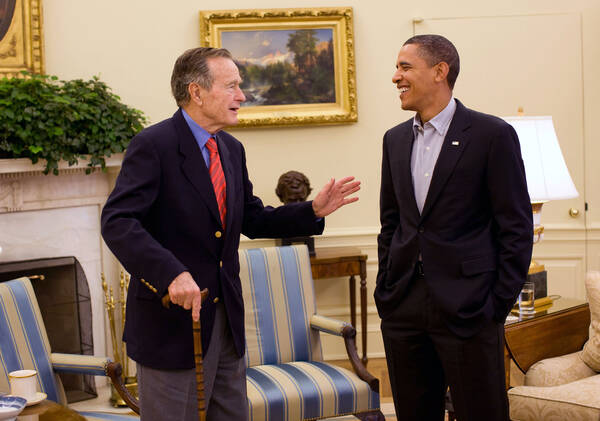 George H.W. Bush met Obama
