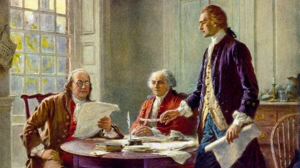 Franklin, Adams en Jefferson werken aan de Declaration of Independece