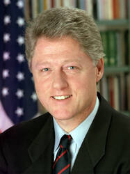 Portret van president William Jefferson (Bill) Clinton, president van de VS (1993-2001)