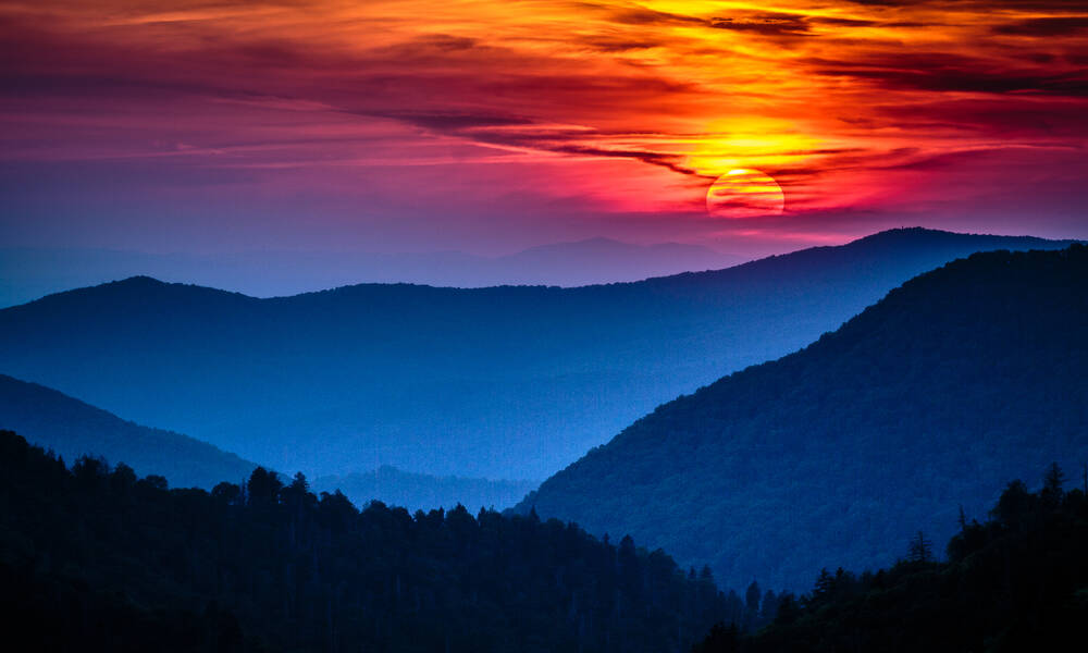 Zonsondergang in Great Smoky Mountains National Park