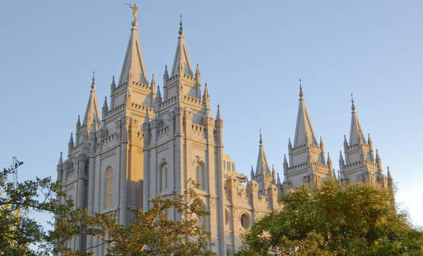 Temple Square in Salt Lake City met de mormoonse tempel