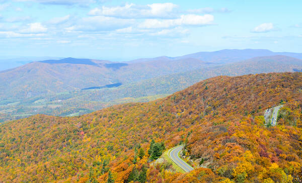 Skyline Drive in Shenandoah National Park in Virginia