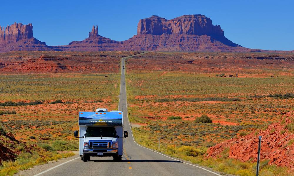 Camperhuur Amerika camper van Cruise America in Monument Valley