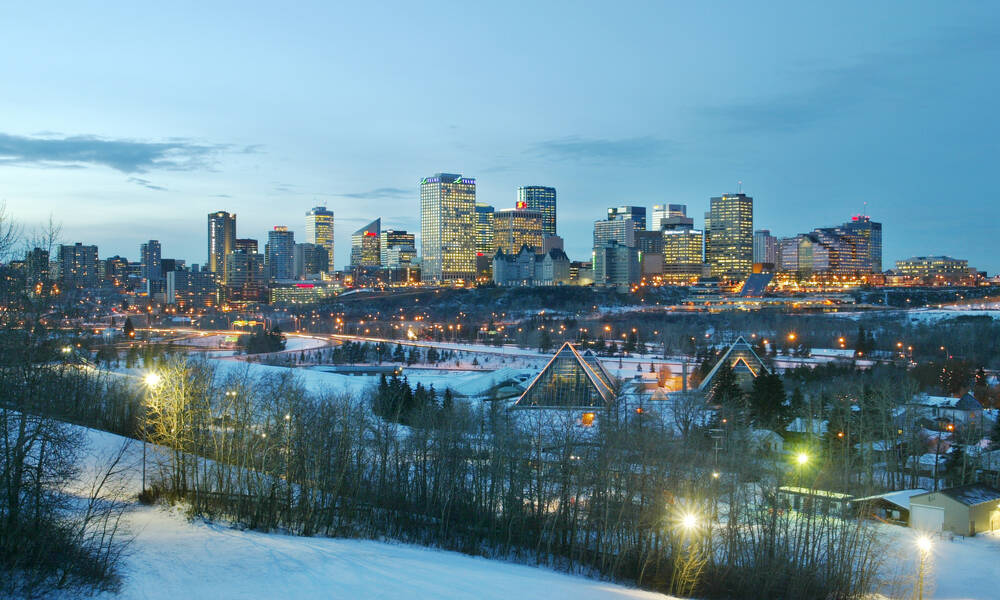 Edmonton in de winter