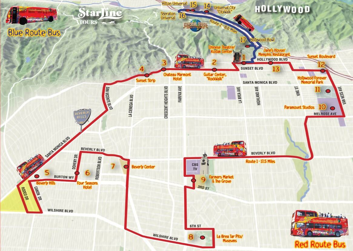 hop on hop off los angeles map la hop on hop off double decker tour