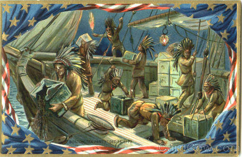 The Boston Teaparty; vermomd als Mohawk Indianen