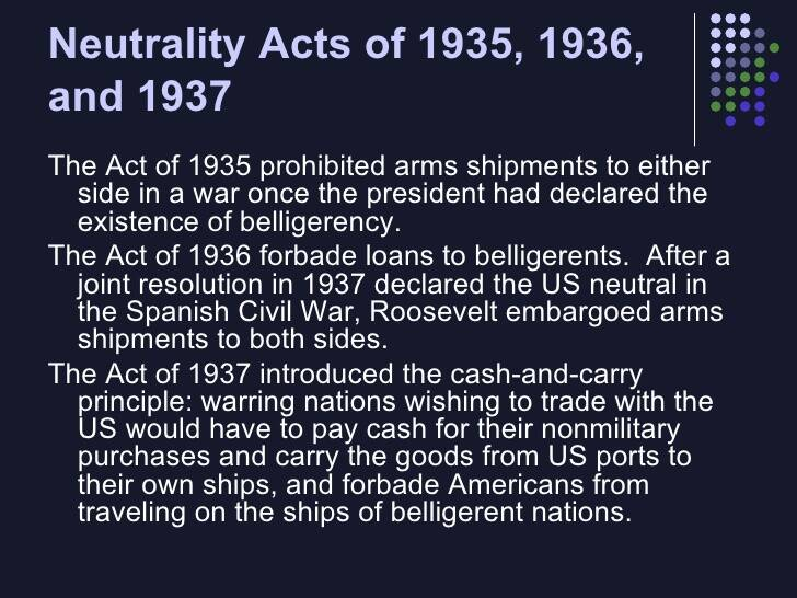 1935: Neutrality Acts