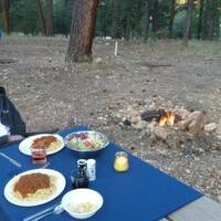 Diner at Jacob Lake with romantic fire